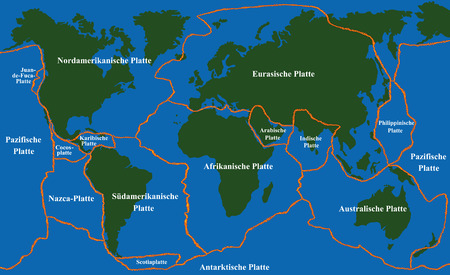 names: Plate tectonics - world map with fault lines of major an minor plates.