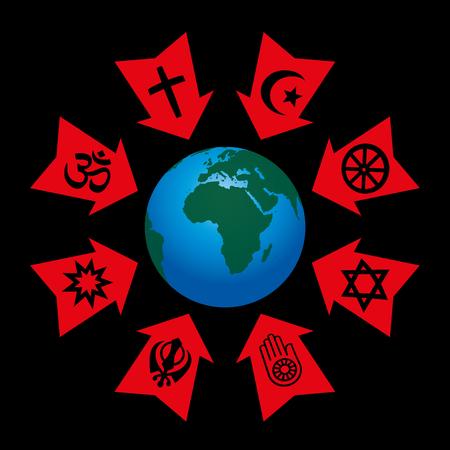 Religiöse Kontrolle, Manipulation und Einfluss - Pfeile mit Symbolen der Weltreligionen aggressiv zeigt auf dem Planeten Erde. Vektorgrafik