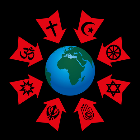strain: Religious control, manipulation and influence - arrows with symbols of world religions aggressive pointing at planet earth. Illustration