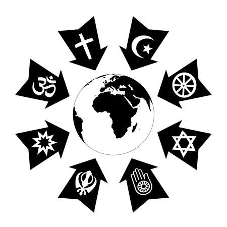 Pressione, stress e filo a causa di religione, rappresentata come frecce nere con simboli religiosi che punta al pianeta terra.