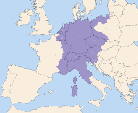 superpower: Holy Roman Empire, superpower in europe during the middle ages, at its greatest extent around 1200 AD colored purple - todays states that were partly or wholly included are lettered. Illustration