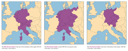 Holy Roman Empire - rise and fall of the medieval europe empire from 962 AD to 1806 AD - with todays state borders.