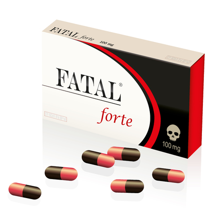 fatal: Fatal, lethal, deadly pills, symbolized by a fake medicine packet named FATAL FORTE with a skull as brand on it. Isolated illustration on white background.