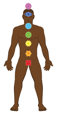 Meditating black man with seven main chakras on his body. Isolated illustration on white background.