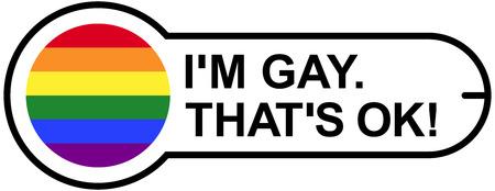 GAY OK Sticker met Gay Pride Vlag van de Regenboog. Geïsoleerde illustratie op een witte achtergrond.