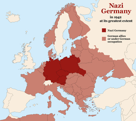 german fascist: Germany - Third Reich at its greatest extent in 1942. Map of Europe in Second World War with todays state borders.