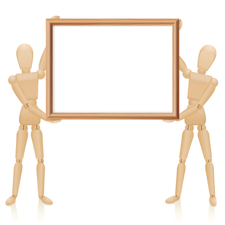 horizontal format: Artist dolls with blank wooden picture frame, horizontal format. Isolated  illustration on white background. Illustration