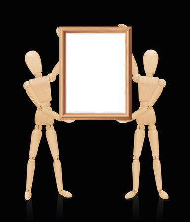 alumnos en clase: maniquíes de madera que llevan a cabo el marco de madera en blanco, formato de alta tamaño. Ilustración aislada sobre fondo negro.