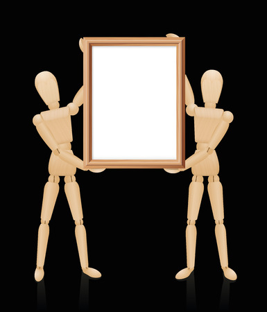 artists dummy: Wooden mannequins holding blank wooden picture frame, high size format. Isolated  illustration on black background. Illustration