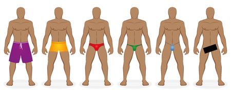 Swimwear dress code for men - ordinary, usually bathers and nude bathing - Isolated illustration on white background.