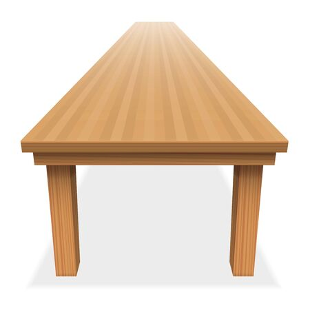 Very long empty wood table - for festive banquet or the like - perspective view from above - isolated illustration on white background.