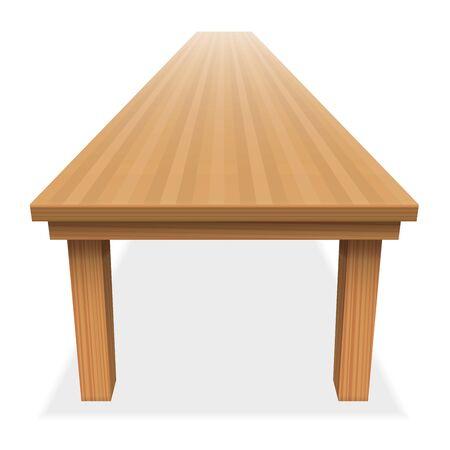 Muy larga mesa de madera vacío - para el banquete festivo o similares - vista en perspectiva desde arriba - ilustración sobre fondo blanco. Ilustración de vector