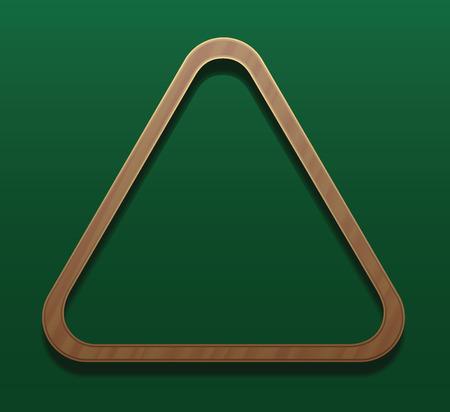 Empty billiard rack. illustration on gradient green background.