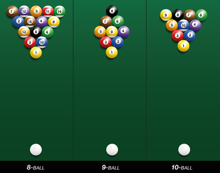 Billiard starting positions - eight-ball, nine-ball and ten-ball. Three-dimensional illustration on green gradient background. Stock Illustratie