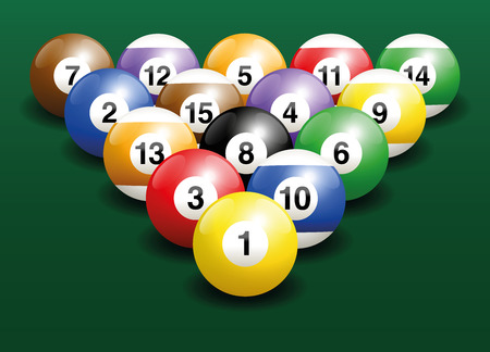 beginnings: Billiard balls start position. Three-dimensional vector illustration on green gradient background.