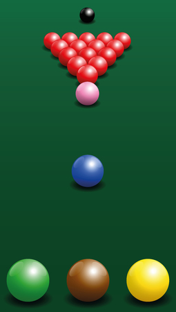 starting position: Snooker starting position of the twenty-two balls. illustration on green gradient background.