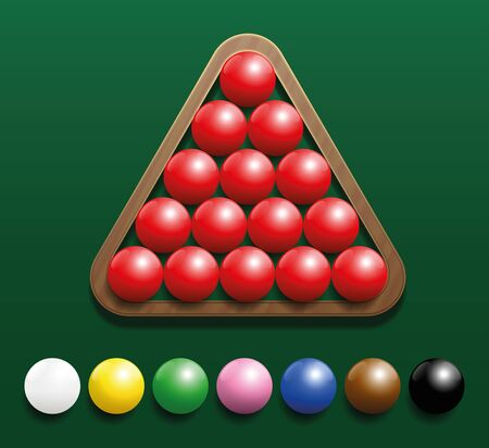 indoor sport: Snooker set with fifteen red balls in a wooden rack and seven colored balls in a row. Three-dimensional illustration on green gradient background.