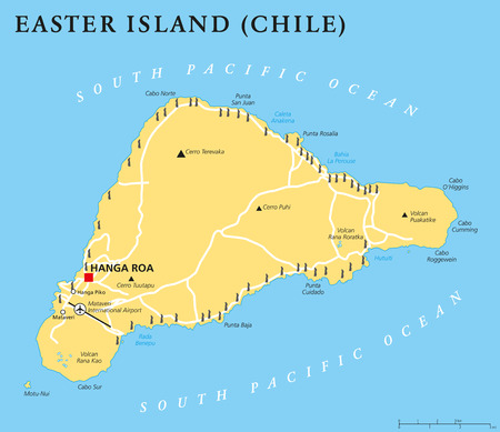south pacific ocean: Easter Island political map with capital Hanga Roa, important places, lakes and monumental Moai statues. Chilean island in the South Pacific Ocean. English labeling and scaling. Illustration.
