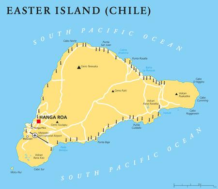 mapa politico: Isla de Pascua mapa pol�tico con el capital Hanga Roa, lugares importantes, lagos y estatuas Moai monumentales. isla en el Oc�ano Pac�fico Sur. Ingl�s etiquetado y descamaci�n. Ilustraci�n. Vectores