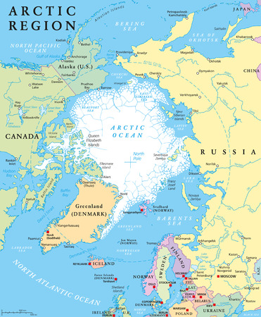 Arctic region political map with countries, capitals, national borders, important cities, rivers and lakes. Arctic Ocean with average minimum extent of sea ice. English labeling and scaling.