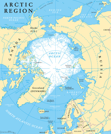 Arctic region map with countries, capitals, national borders, rivers and lakes. Arctic Ocean with average minimum extent of sea ice. English labeling and scaling. Illustration