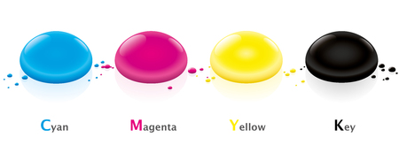 primaries: CMYK color model with four ink drops - cyan, magenta, yellow and key- Isolated vector illustration on white background.