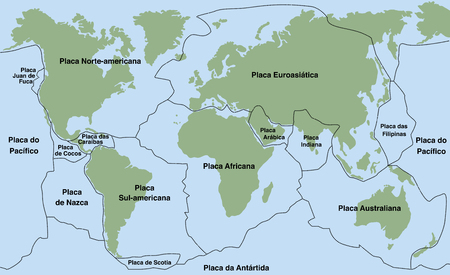 pacific: Plate tectonics- PORTUGUESE NAMES! - planet earth with major an minor plates - vector illustration. Illustration