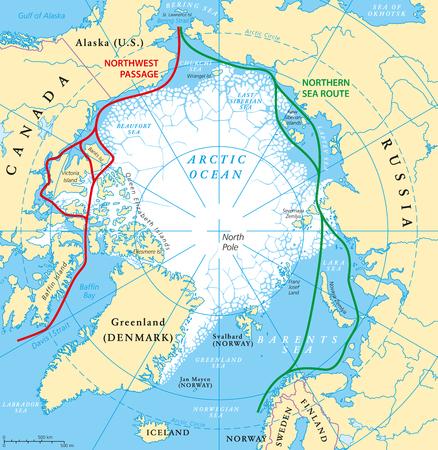 Arctic Ocean rotte marittime mappa con Passaggio a Nord Ovest e del Mare del Nord percorso. mappa regione artica con i paesi, i confini nazionali, fiumi, laghi e misura minima media del ghiaccio marino. etichettatura inglese.