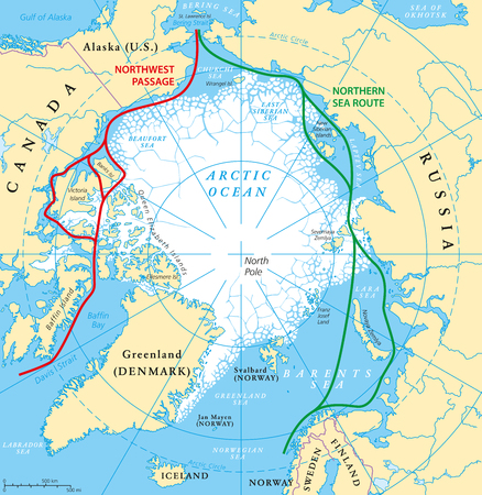 extent: Arctic Ocean sea routes map with Northwest Passage and Northern Sea Route. Arctic Region map with countries, national borders, rivers, lakes and average minimum extent of sea ice. English labeling.