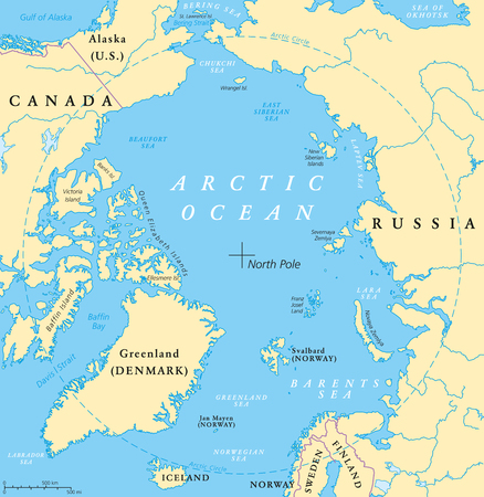 Arctic Ocean map with North Pole and Arctic Circle. Arctic region map with countries, national borders, rivers and lakes. Map without sea ice. English labeling and scaling. Vectores