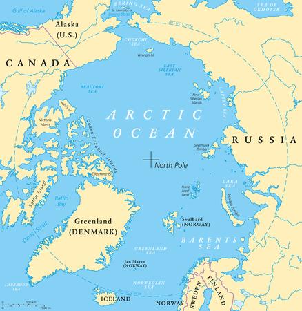 Mappa del Mare Glaciale Artico con Polo Nord e circolo polare artico. mappa regione artica con i paesi, i confini nazionali, fiumi e laghi. Mappa senza ghiaccio del mare. etichettatura inglese e il ridimensionamento. Vettoriali