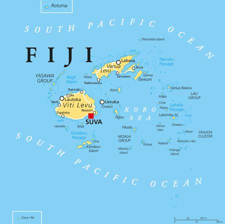 フィジー首都スバ、島々、重要な都市とサンゴ礁との政治地図。英語ラベルとスケーリングします。イラスト。
