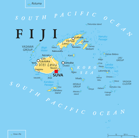 labeling: Fiji political map with capital Suva, islands, important cities and reefs. English labeling and scaling. Illustration.