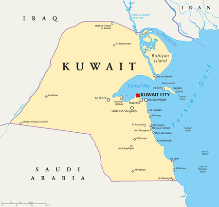 scaling: Kuwait political map with capital Kuwait City, national borders, important cities and rivers. English labeling and scaling. Illustration.