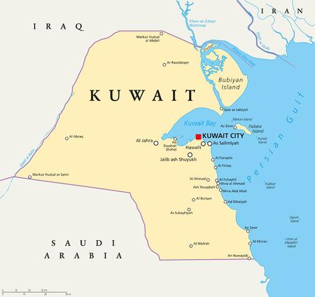 mapa politico: Mapa político de Kuwait con el capital Ciudad de Kuwait, de las fronteras nacionales, ciudades y ríos importantes. Inglés etiquetado y descamación. Ilustración.