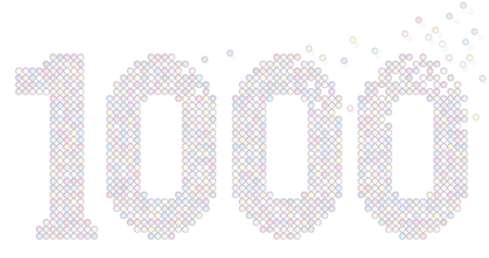 counted: Thousand pastel colored bubbles representing number THOUSAND - exactly counted - isolated vector illustration on white background.