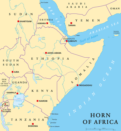 labeling: Horn of Africa peninsula political map with capitals, national borders, important cities, rivers and lakes. In ancient times called Land of the Berbers. English labeling and scaling. Illustration.