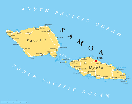 samoa: Samoa political map with capital Apia and important places. Formerly known as Western Samoa, part of Samoan Islands, with main islands Savaii and Upolu. English labeling and scaling. Illustration. Illustration