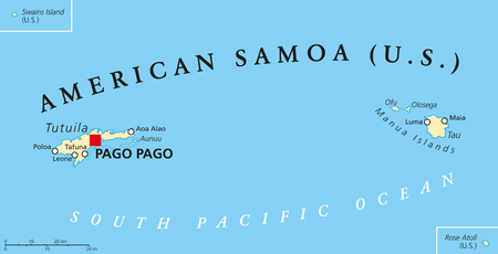 samoa: American Samoa political map with capital Pago Pago is an United States territory and part of Samoan Islands in South Pacific Ocean. English labeling and scaling. Illustration.