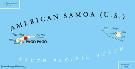 mapa politico: mapa pol�tico Samoa con un capital de Pago Pago es un territorio de Estados Unidos y parte de las Islas de Samoa en el sur del Oc�ano Pac�fico. Ingl�s etiquetado y descamaci�n. Ilustraci�n. Vectores