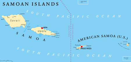 labeling: Samoan Islands political map with Samoa, formerly known as Western Samoa and American Samoa and their capitals Apia and Pago Pago. English labeling and scaling. Illustration.