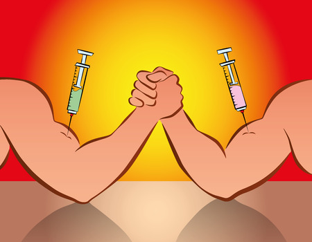 cheat: Doping - arm wrestling competition with syringes. Comic vector illustration. Illustration