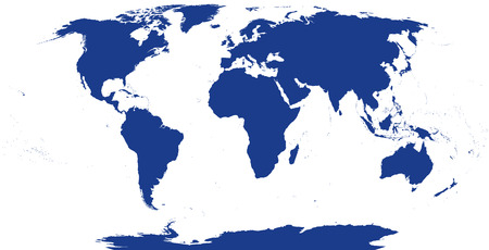 World map silhouette. The surface of the Earth. Detailed map of the world with shorelines under the Robinson projection. Blue illustration on white background.