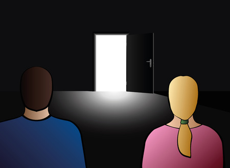 Couple looking at an open door, as a symbol for exit, escape, divorce, drop out or other relationship problems.