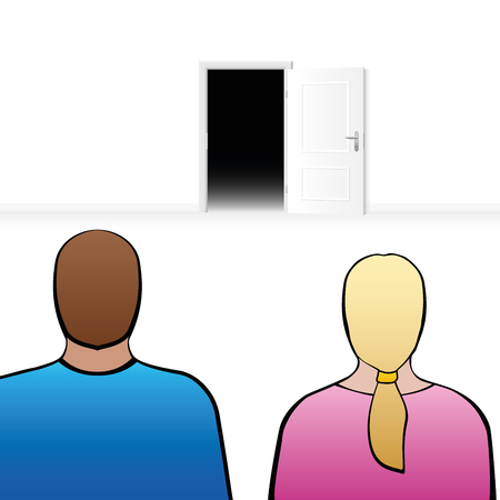 back view man: Couple looking at an open door, as a symbol for expectation, anticipation, anxiety about the future or other surprises in partnership.