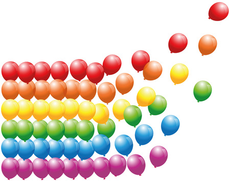 going away: Rainbow colored balloon lines floating away - isolated vector illustration on white background. Illustration