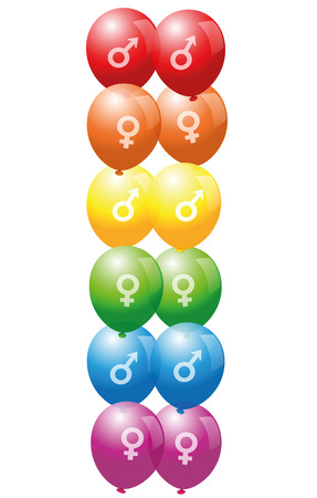 gay pride: Gay pride balloons with symbols of gay and lesbian love - isolated vector illustration on white background.