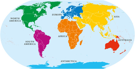 Seven continents world map. Asia, Africa, North and South America, Antarctica, Europe and Australia. Detailed map with shorelines and national borders under Robinson projection on white background.