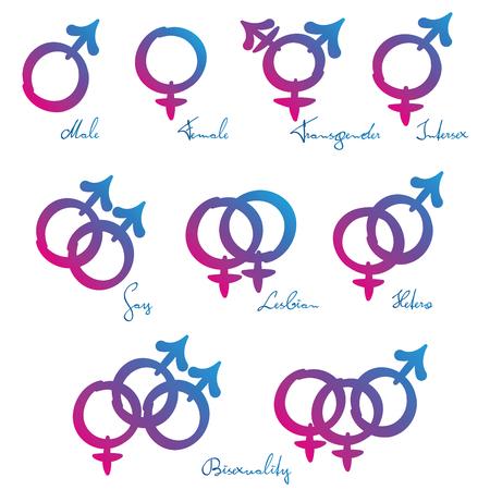 LGBT Symbole - Gender Identität Orientierung Standard-Bild - 58785158