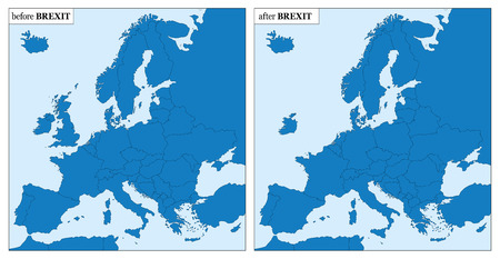 blanked: BREXIT - Europe before and after BREXIT - with and without Great Britain. Illustration